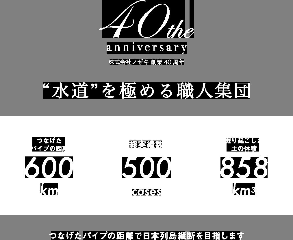 株式会社ノゼキ 創業40周年 水道を極める職人集団